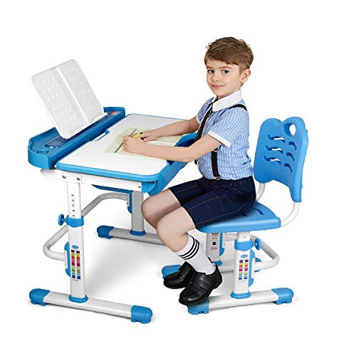 SIMBR Kids Desk and Chair Set, Height Adjustable Ergonomic Student Study Desk and Chair Set with Large Storage Drawer, Bookstand, 55°Tilted Desktop, Metal Hook for Boys Girls