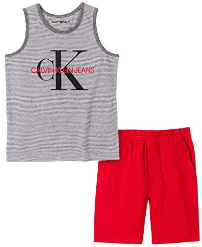 Calvin Klein Boys' 2 Pieces Tank Short Set, White/Black/Khaki, 5