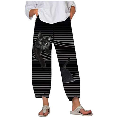 N/S Pantalones Largos de Mujer,Pantalones Sueltos con Bolsillo a Rayas de Gato para Mujer Pantalones Deportivos de Cintura elástica Soft Joggers Lounge Pants