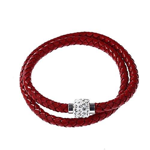 SODIAL(R) Brazalete Pulsera de mujer hombre Cuerda de cuero trenzado bola de cristal Regalo Rojo