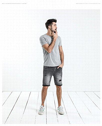 MN Männer Sommer gestreiften Hit Farbe Sea Ghost Shirt gekräuselten Alten Rundhals Slim Kurzarm-T-Shirt,B,XL