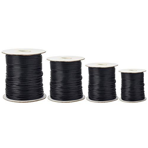 Handi Stitch Cuerda Encerada (4 piezas) - 50m Largo (0,5,1,1,5 y 2mm Grueso) Negro Cordón Encerado para la Fabricación de Joyas - Cordón de Encerado Hilo para Collar, Pulsera, Tobilleras y Llaveros