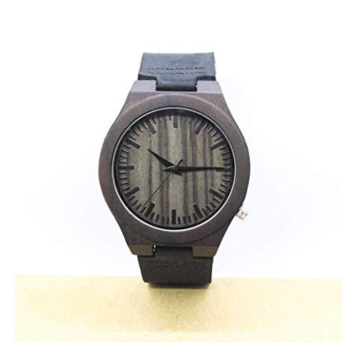 Leyue Reloj de Madera con Correa Genuina Reloj de Pulsera analógica de Cuarzo Negro y ébano Casual Ligero para Hombres y Mujeres en Caja de Regalo (Color (Color : A)