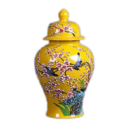 Jarrón de ceramica para el hogar. decorativo. Color amarillo