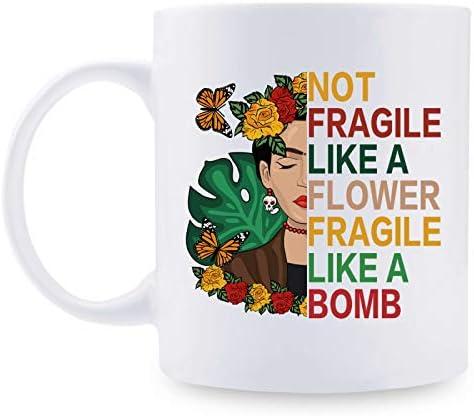 Vintage Mug For Best Friends Gifts for Girls Not Fragile Like A Flower Fragile Like A Bomb Frida product image
