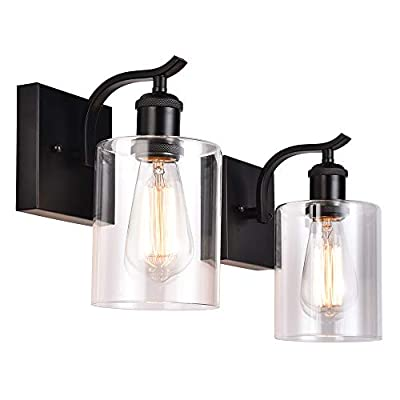 Cuaulans 2 Pack Industrial Black Wall Sconce, Clear Glass Shade Wall Lamp Light Fixture for Outdoor Indoor Bathroom Bedroom Hallway