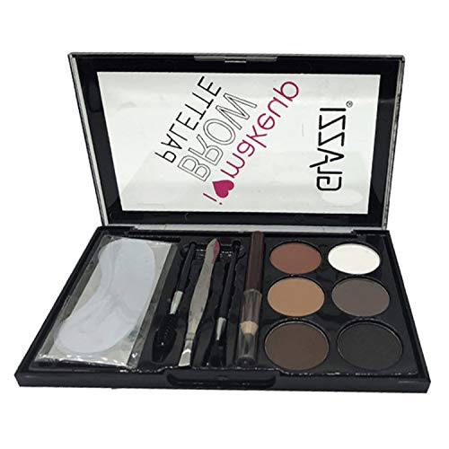 Vtrem Eyebrow Palette Augenbrauen-Kit mit feinen Pudern + Augenbrauenpinsel Pinsel + Augenbrauenstift + Pinzette + Schablone Professionelles Make-up-Tool Natürlicher Lidschatten [01#]