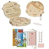 LA PUERTA MÁGICA del Ratoncito Pérez + Caja dientes de leche + pinzas + botella esterilizadora + escalera + plato + queso + felpudo + llave + dibujo fondo de puerta + postal (Rosa Niña)