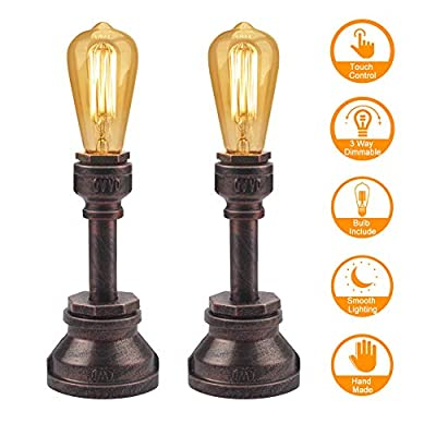 Touch Control Vintage Table Lamp 3 Way Dimmable Industrial Table Lamp Water Pipe Steampunk Lamp Iron Industrial Lamp for Bedroom Bedside Living Room Cafe Bar House Décor, 60W ST64 E26 LED Include