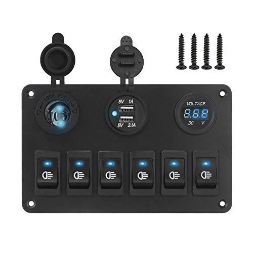 VITKT 6 panel de interruptores de rockero de pandillas Circuito de la marina del automóvil en las luces del voltímetro digital DC 12V 24V Ajuste para el ajuste marino del automóvil para RV SUV YACHT