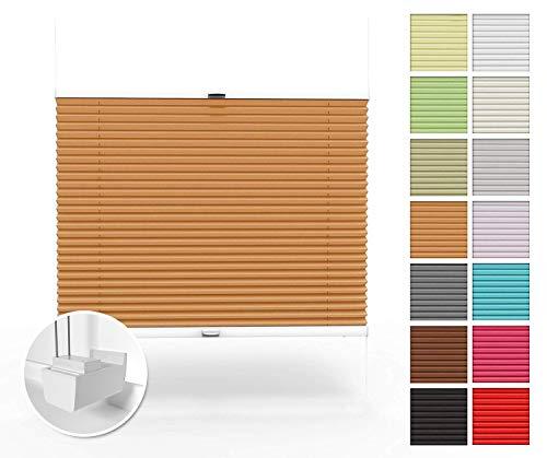Home-Vision Premium Plissee nach Maß, ohne Bohren mit Klemmträger, Blickdicht Jalousie für Fenster & Tür Sonnenschutzrollo (Orange, B71-80cm x H151-200cm)