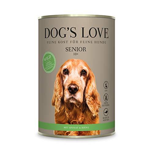DOG'S LOVE Hundenahrung Nassfutter mit wichtigen Nährstoffen getreidefrei in verschiedenen Sorten- frei von Konservierungsstoffen – von Veterinären geprüft – Wild Senior (6 x 400g)