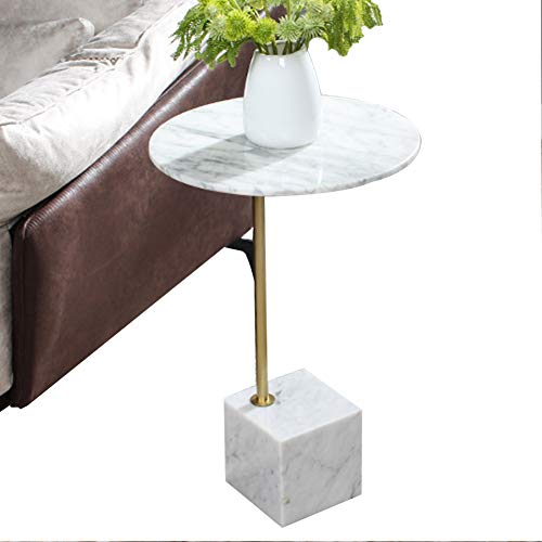 HQBL Tavolino da caffè Rotondo Moderno in Marmo,Tavolino Laterale Robusta Base in Marmo Tavolo D'angolo/Comodino per Piccoli Spazi,40 Cm (15,7 Pollici) X 60 Cm (23,6 Pollici)