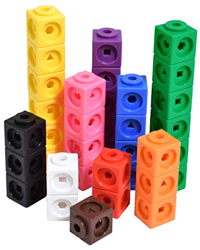 Edx Education Math Cubes - Set of 100 - Linking Cubes For Early Math - Connecting Manipulative For Preschoolers Aged 3+ and Elementary Aged Kids