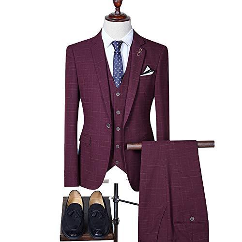 Outwear Chaqueta Chaleco Pantalones 2020 Nuevos Hombres Moda Boutique Plaid Vestido de Boda Traje de Tres Piezas Masculino Formal Negocios Casual Blazers Conjunto
