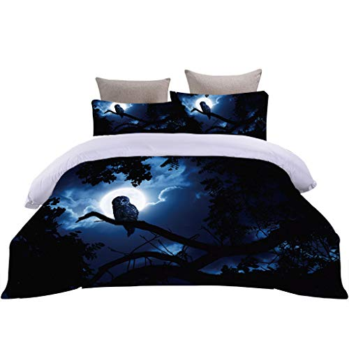 OJYUXD Duvet Cover Quilt Bedding Set With Pillowcase, 100% Easy Care Polyester Microfibre, 3 Pieces Soft And Cozy Owl Forest Night View Duvet Covers Sets - Super King: 220X230Cm