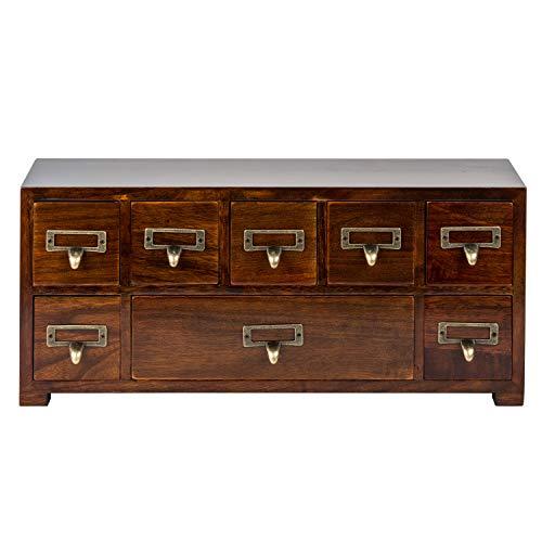 Gabinete de medicina tradicional con pantalla LCD LED, armario ancho y pequeño con 8 cajones, gabinete de mesa de boticario - muebles orientales premontados - catálogo de tarjetas vintage - cajonera