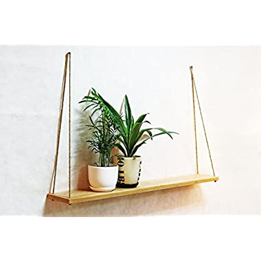 Large Hanging Wall Shelves with Rope White 39x6 Inch Indoor Mid Century Wooden Succulent Planter Floating Swing Shelves Modern Decorative Wood Pot Stand Minimalist Flower Holder Housewarming Gift