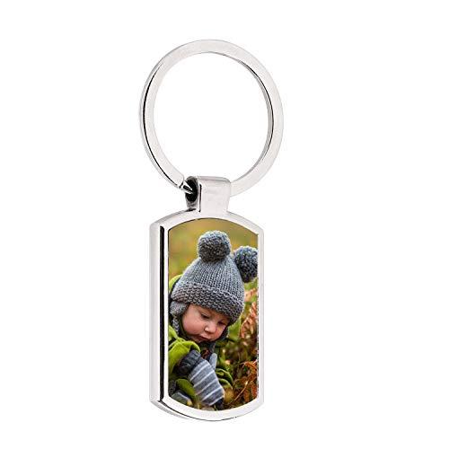 Schlüsselanhänger mit Fotogravur Schlüsselring Anhänger mit Foto Schlüsselbund Personalisierter Taschenanhänger Metall Schlüsselband Wunschgravur Sleutelhanger Keychain Schmuck für Geschenk