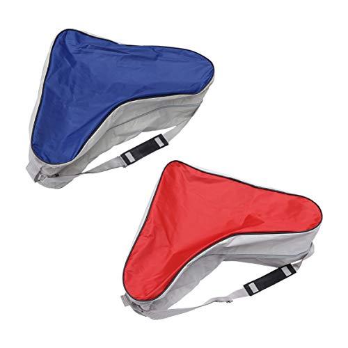 BESPORTBLE 2 Stück EIS Inline Skate Tasche Dreieck EIS Rollschuh Tasche Hochleistungs Eishockey Skate Tragetasche mit Verstellbarem Schultergurt für Kinder Erwachsene (Blau)