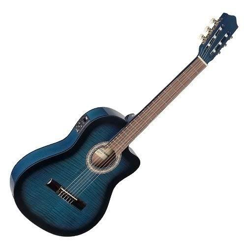 STAGG Konzertgitarre C546TCE-BLS m. EQ u. Cutaway