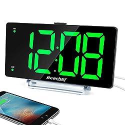 Large Alarm Clock 9 LED Digital Display Dual Alarm with USB Charger Port 0-100 Dimmer for Seniors Simple Bedside Big Number Green Alarm Clocks for Bedrooms