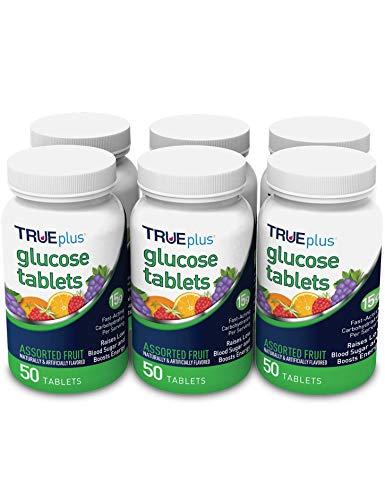 TRUEplus® Glucose Tablets, Assorted Flavor (Grape, Raspberry, Orange) - 50ct Bottle - 6 Pack