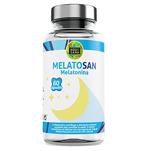 Melatosan-Aquisana | Melatonina + Valeriana + Pasiflora + Melisa - - Relajante natural - Extractos de plantas para descansar - Libre de Alérgenos-(60 CAP)
