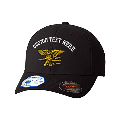 Custom Flexfit Baseball Cap U.S. Navy Seal Embroidery Design Polyester Hat Elastic Black Small/Medium Personalized Text Here