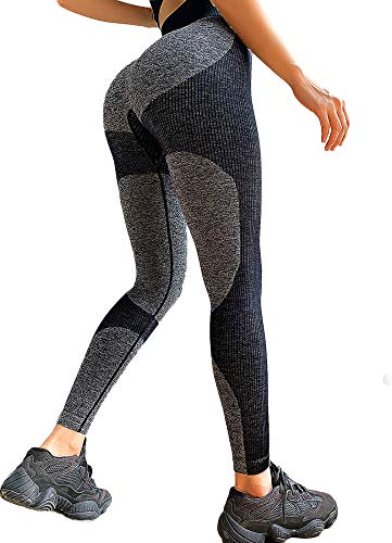 INSTINNCT Damen Gestreifte Nahtlose Leggings Slim Fit Jogginghose Sporthosen Fitnesshose B-Herz Muster (schwarz) M