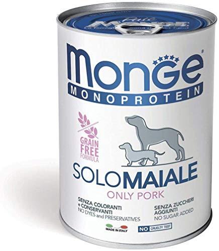 Monge Monoproteico Solo Maiale Alimento Umido per Cani 12 X 400gr
