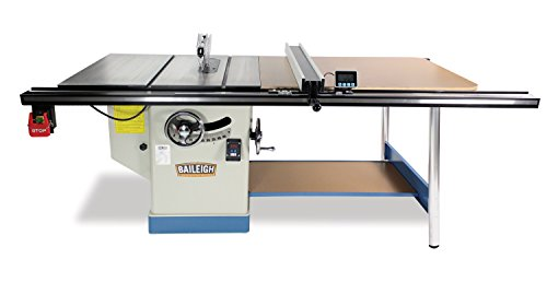 """Baileigh TS-1248P-52 Professional Cabinet Style Table Saw, Single Phase, 48"""" x 30"""" Table, 52"""" Max Rip Cut, 5 hp, 220V, 12"""""""
