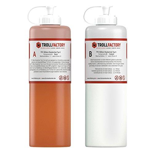 TFC Silikon Kautschuk Typ 6 I Dubliersilikon lebensmittelecht I weich, 1 kg (2 x 500 g)