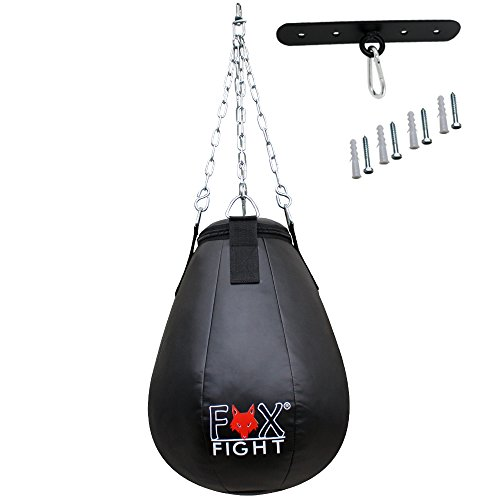Fox-Fight Mais Lampadina boxbirne meis Pera boxball Sacco da Boxe PU Pelle (Imbottito) Nero