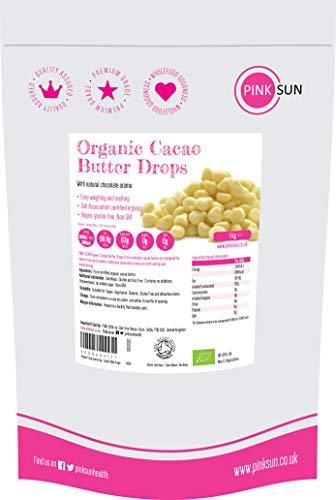 PINK SUN Manteca de Cacao Organica 1kg Bio (o 500g) Pura Sin Refinar Alimentaria Gotas Comestible Sin Gluten Sin Azúcar Añadido Sin Lácteos Vegetariano Vegano Organic Cacao Butter Perú 1000g Bulk