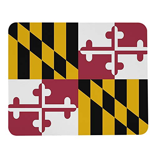 Wozukia Flag of Maryland Mouse Pad White Yellow Black Red Mouse Mat Non-Slip Rubber Gaming Mousepad Rectangle Mouse Pads for Computers Laptop 9.5x7.9 Inch
