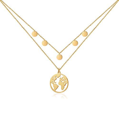 Good.Designs ® Weltkette mit 5 Coin Choker für Frauen | Mädchen Gold goldene goldfarben goldenekette kettegold Damenschmuck Frauenkette Halskette Kette Women