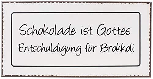 Lafine Schild - Schokolade ist Gottes Entschuldigung für Brokkoli! - Metall 40 cm Blechschild Vintage