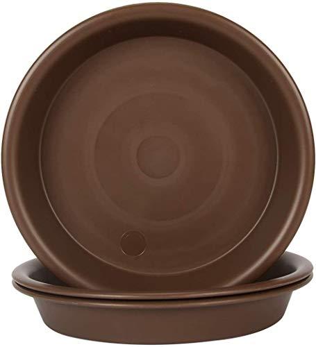 Aobp – Plato de plástico redondo para macetas, para jardín, interior y exterior, color marrón (11 cm x 2 cm) 3 paquetes