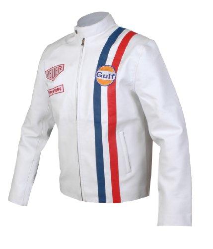 Feather Skin Herren Leder Jacke -Le Mans Steve McQueen GolfJacke Weiß