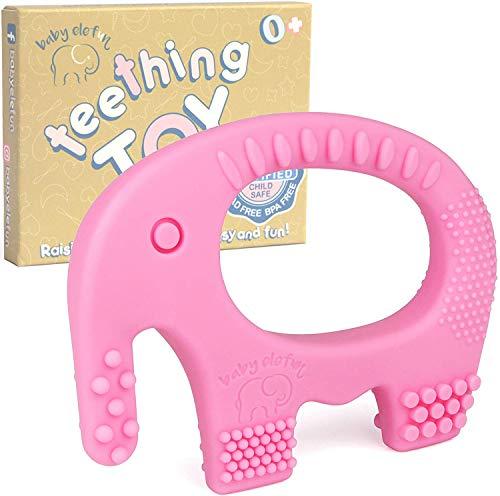 Baby Beißring Elefant - BPA-freies Silikon - Niedlich, leicht zu halten, weich und hochwirksamer Beißring - Beissring-Spielzeug - Geeignet für Gefrierschrank - Einzigartiges Mädchen (Pink)