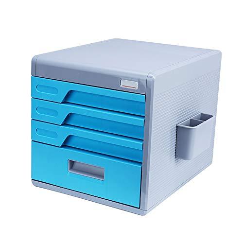 FLY® Desktop-Datenschrank 4-Schicht-Schublade Typ A4-Aktenschrank Einfache Office-Aufbewahrungsbox aus ABS mit digitalem Codeschloss (Farbe : B)
