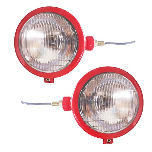 BAJATO Tractor Red Headlights Assembly Set For Case IH Tractor Claas Tractor Farmtrac Tractor Massey Ferguson Tractor 35 35X 65 765 1200 1400 800 700 and 900 Series Tractor Light 12 volt