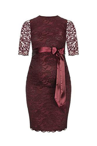 Herzmutter Umstands-Spitzen-Kleid - Elegantes-knielanges-Schwangerschafts-Kleid - für Festliche Anlässe-Hochzeit-Feier - Mit Spitze - Creme-Champagner-Blau-Rot-Rosé - 6200 (Dunkelrot, L)