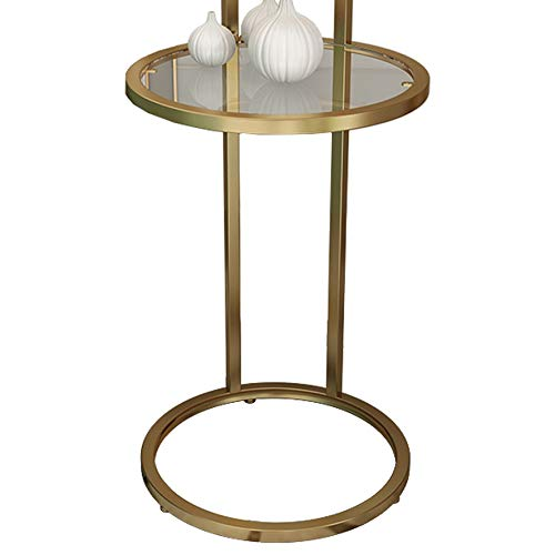 WZHZJ Simple Vaso de Metal Lado Mesa de Hierro de la Esquina Redonda Mesa de Madera Hierro Cristal Escritorio Salón Comedor Mesa Mesa de Trabajo Té (Color : B)