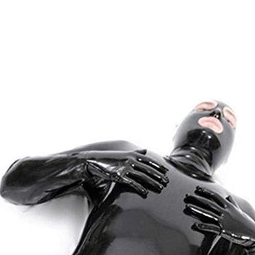 KILLM Sexy Männer Und Frauen Wet Look Ds Bühnencatsuit Kleidung Gefangener Lackleder Overalls Cosplay Zentai Catsuit Handschuhe Maske Body, Aus 100% Naturkautschuk,XXXL