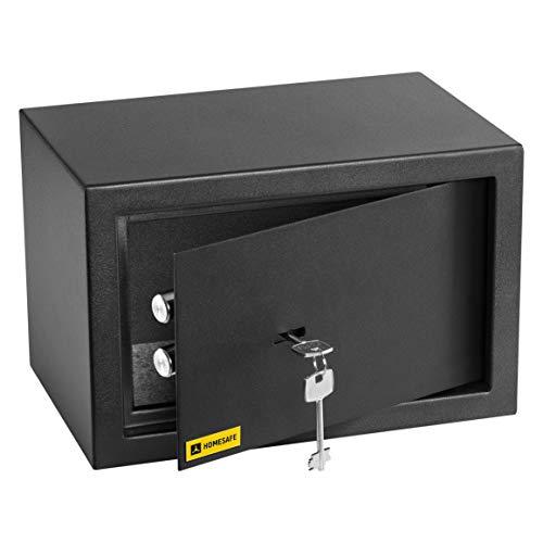 HomeSafe HV20K Caja fuerte con Cerradura de Calidad 20x31x20cm (WxHxD), Negro Satén de Carbón