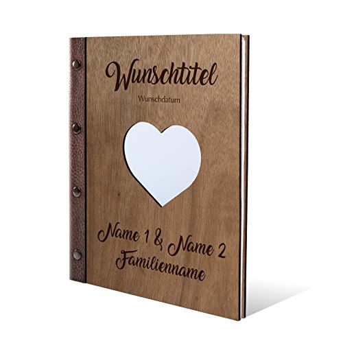 Stammbuch Okoume Holz Gravur individuell Holzcover mit Echtleder Rücken und Extras Stammbuchformat hoch 175 x 220 mm - Herz