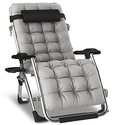 KEPLIN Textoline Zero Gravity Extra große Stühle | Garten Outdoor Terrasse Sonnenliegen | Klappstuhl (grau mit Kissen)