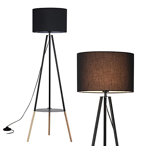 Modern Industrial Black Lampshade Tripod Floor Table Lamp with Wood Legs - Mid Century Standing Design Light with ON/Off Switch - Adjustable Tall Drum Lamp for Living Room Bedroom Kitchen Office